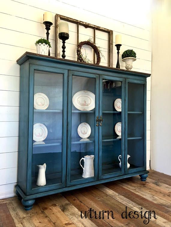 Diy Refinished And Painted Cabinet Reviews: Sold Blue Farmhouse Painted Hutch Blue Painted China