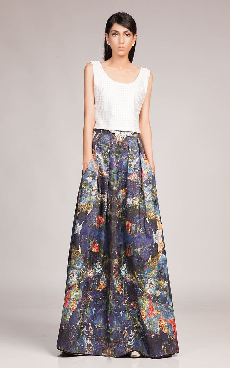 printed silk blue skirt with white cropped top skirt