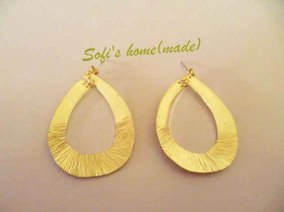 Teardrop hammered brass earrings plus free gift