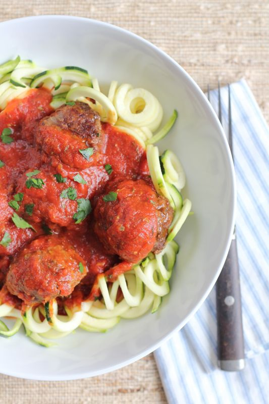 Zucchini Noodles with Homemade Meatballs and Marinara Sauce #zoodles #zucchini #spiralizer
