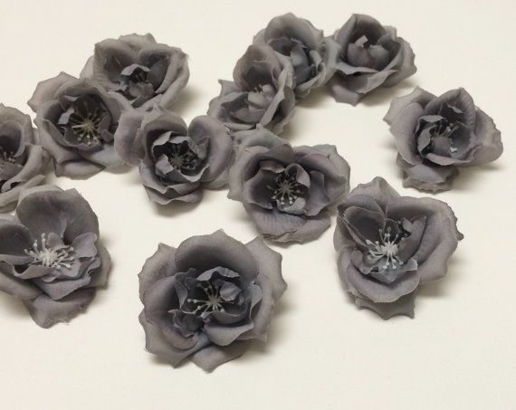 45 best silk flowers on etsy images on pinterest floral crowns silk flowers 12 small gray roses artificial flowers grey roses hair accessories flower crowns mightylinksfo