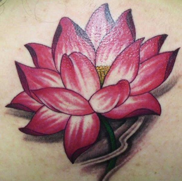 A truly beautiful pink lotus flower tattoo. The tattoo is shown to be help up by its stem as it blooms on the surface of the water.