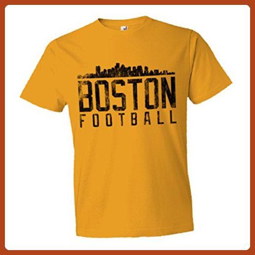 Mens/Unisex Boston New England Football Distressed Skyline Soft HQ Fashion Tee - Gold - Sports shirts (*Partner-Link)