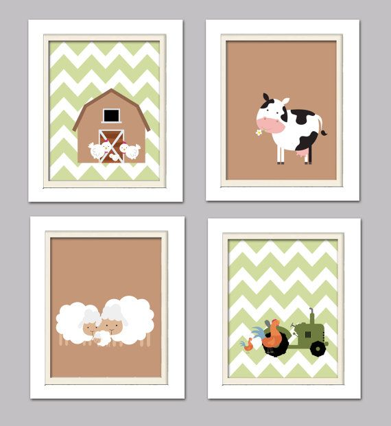 Nursery Quad, Farm Nursery, Green and Brown Nursery, Set of 4 8X10, Brown, Green, Choose your colors