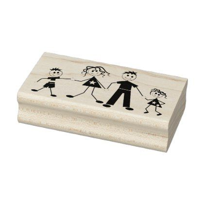 Stick Figure Family Rubber Stamp - office ideas diy customize special