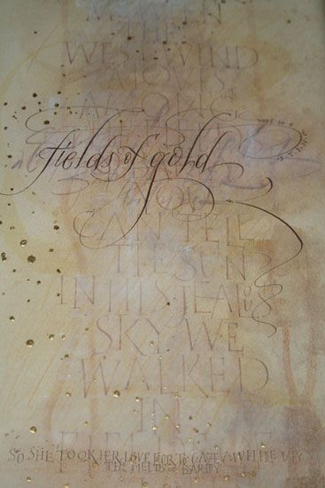 Hilary Adams: Field of Gold: Gouache and gold leaf on stretched Canson pasterl paper