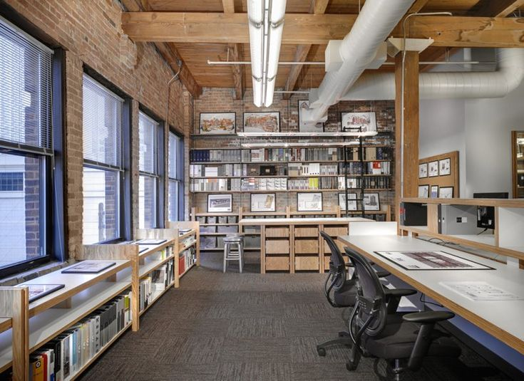 Wood brick plywood white laminate shelves drawers white ducting inspiring office spaces - Small spaces surry hills decor ...
