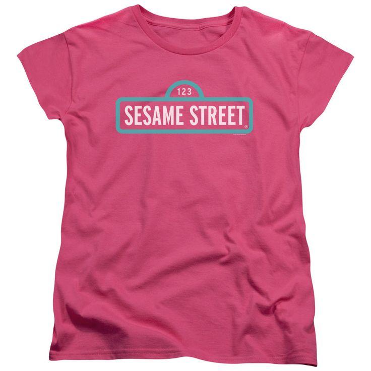 Sesame Street Alt Logo Hot Pink Womens T-Shirt