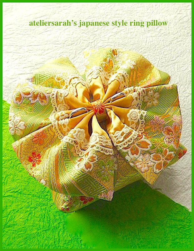Yellow green Japanese-style ring pillow