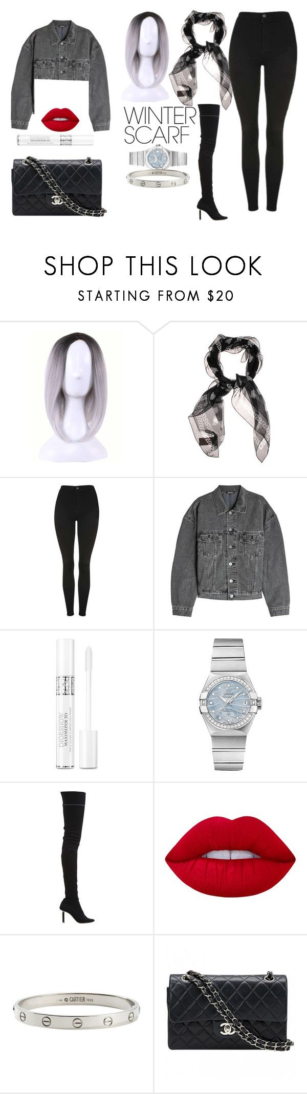 """""""versace versace versace"""" by rubylove123 ❤ liked on Polyvore featuring WithChic, Versace, Topshop, Yeezy by Kanye West, Christian Dior, OMEGA, Vetements, Lime Crime, Cartier and Chanel"""