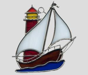 Stained Glass Sailboat and Lighthouse