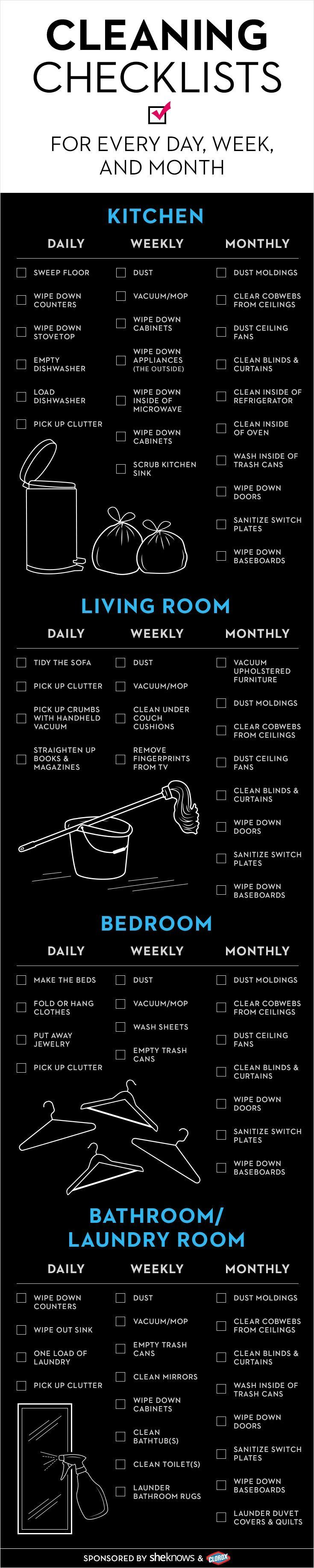 Keep your house in check with this cleaning checklist. Broken down by day, week and month!