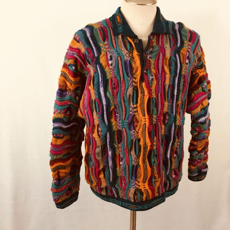 Vintage COOGI Mens Pullover Sweater Size Large Australia Wool CUGGI 3 Button #COOGI #PullOVer