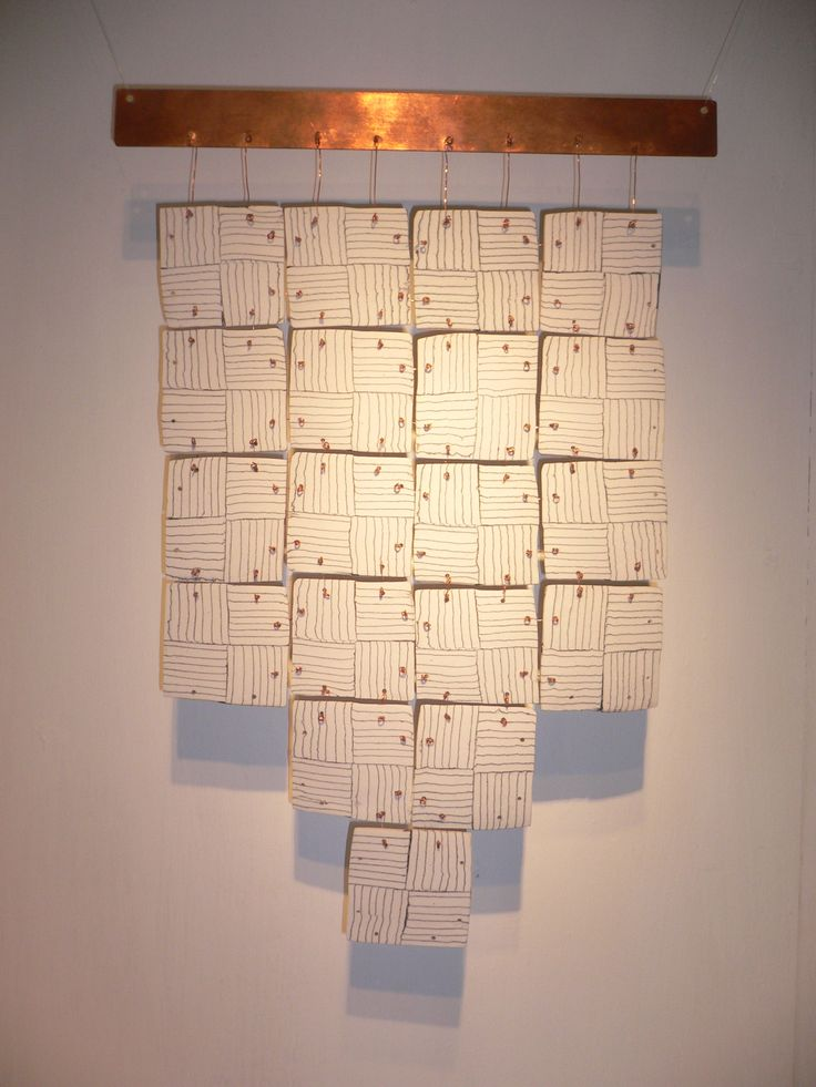 Linear Variations. Copper and linked Neriage ceramic squares. Wall piece. Private Collection.