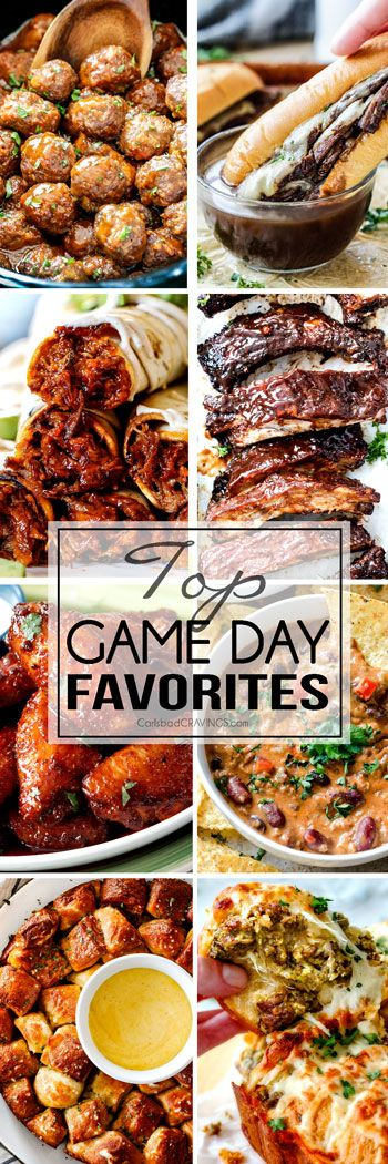 Top Game Day Recipe Favorites from dips to meatballs and from appetizers to main dishes!  You are guaranteed to find some of the BEST football party recipes right here!  And even if you aren't into football, you are guaranteed to find some of the best parTAY food to love forever and ever.!
