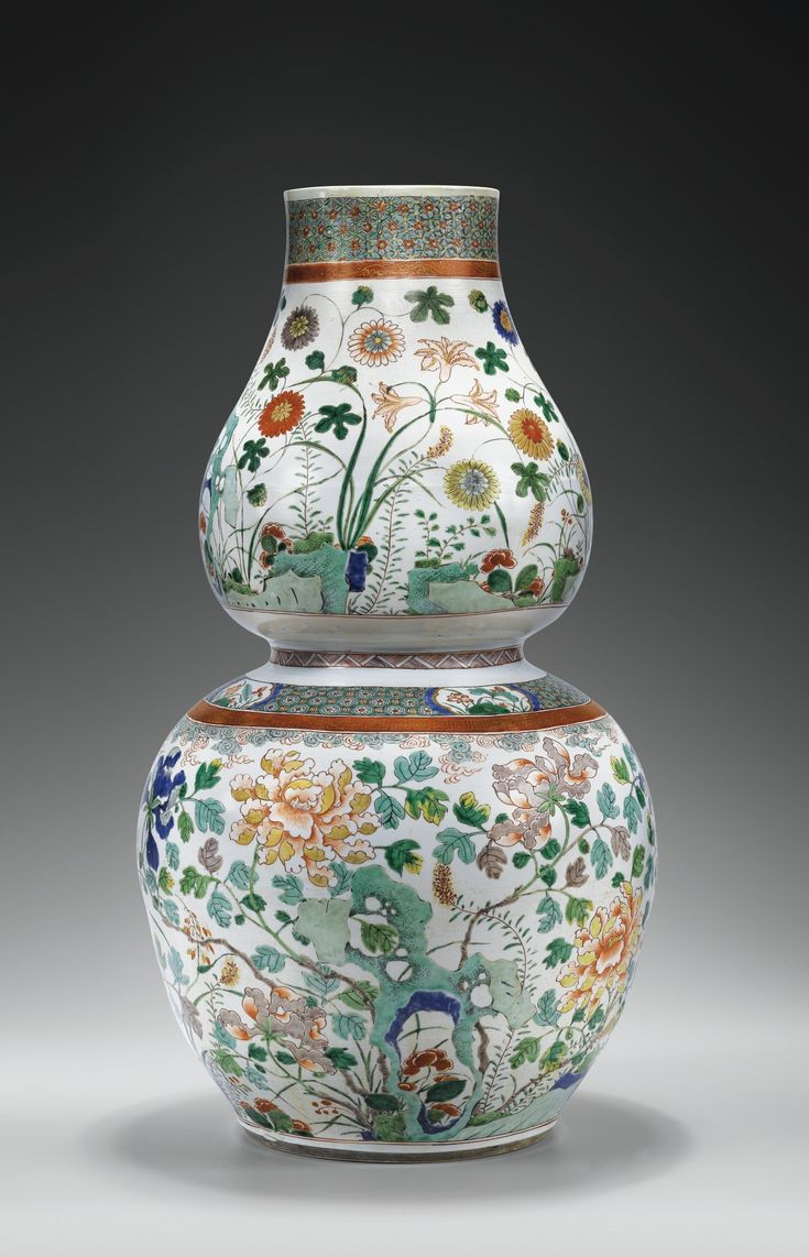 An Unusual Large Double Gourd Shaped Famille Verte Vase