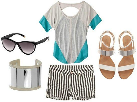 Colorblock top stripe, shorts, sandals. #style