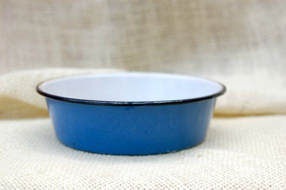 Blue and white Enamel dish // Vintage enamel by TrellisLaneVintage, $12.00  Found this from TrellislaneVintage, great item.