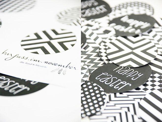 DIY - Geometrische Deko-Eier aus Papier in black & white – free printable Mit Anleitung und gratis Druckvorlage http://barfussimnovember.com