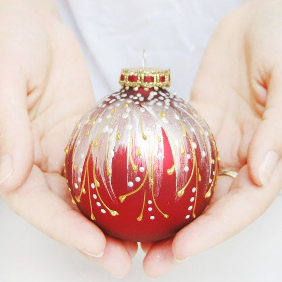Christmas Ornament - Faberge Inspired, glass ball, bauble, hand painted, red, white