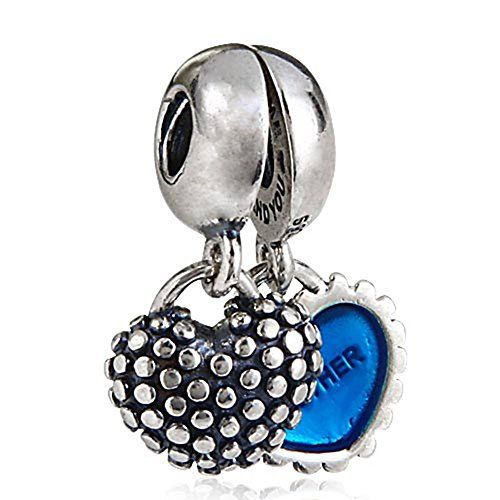 Lily Jewelry Piece of My Heart Mother/Son with Turquoise Enamel Dangle 925 Sterling Silver Bead Fits Pandora European Charm Bracelet Ogg85