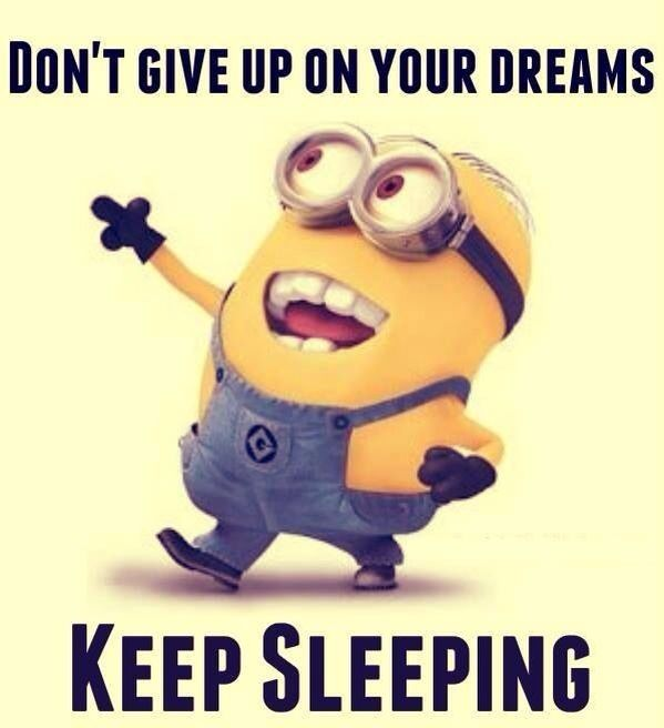 Minions ~Don't give up on your dreams, keep sleeping~ See my Minion pins https://www.pinterest.com/search/my_pins/?q=minions