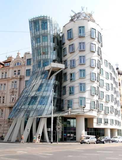 Frank Gehry's 'Fred and Ginger' building. we had an amazing meal at the top of the building - for a friend's 40th.