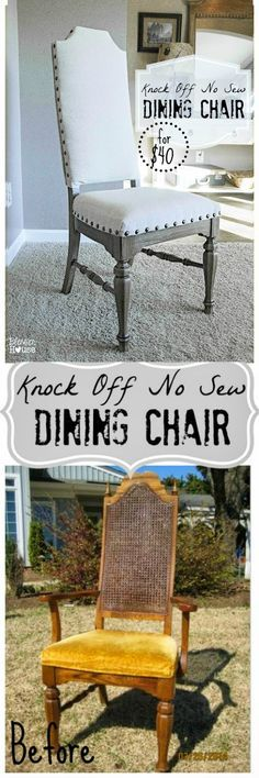 Knock Off No Sew Dining Chair Makeover | Bless'er House - Way easier than traditional upholstery and only cost $40 to do! Looks a lot like the dining chairs from Pottery Barn and Ballard Designs.