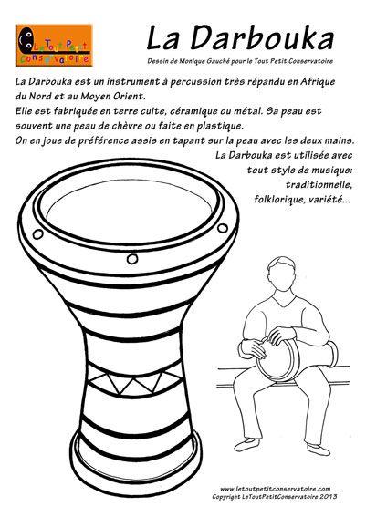 La darbouka instrument de musique percussion dessins coloriages d 39 instruments de musique - Image instrument de musique a colorier ...