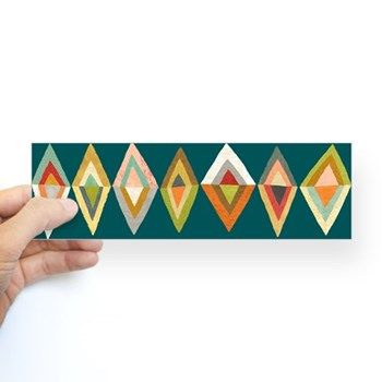 Mod Diamonds Bumper Sticker by Richard Faust. This looks like a cool inspiration for a quilt!