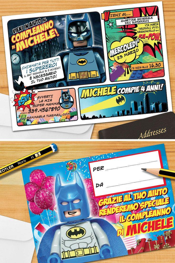 Batman LEGO® invito personalizzato, invito per festa di compleanno: stampabile (con la vostra stampante) o stampati da noi (con buste) di GraficheMeccaniche su Etsy