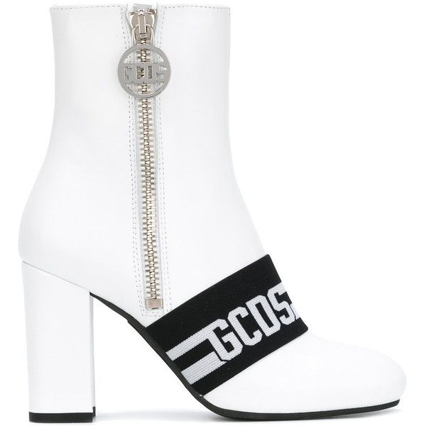 Gcds logo stripe ankle boots ($416) ❤ liked on Polyvore featuring shoes, boots, ankle booties, white, leather bootie, leather ankle bootie, white bootie, leather ankle boots and short boots