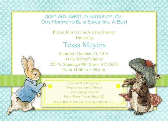 Peter Rabbit Baby Shower Invitation Boy Baby Invite Blue Polka Dot Benjamin Bunny  Peter Rabbit Party DIY Printable Invite PDF (Item #2)