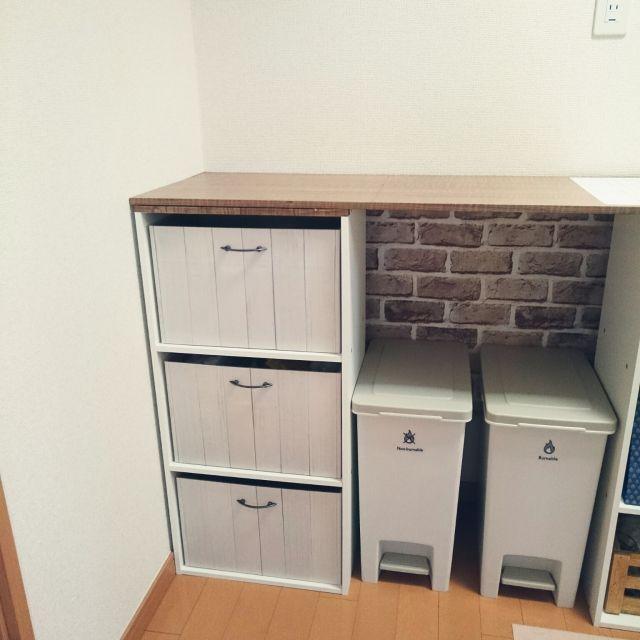 カラーボックスにスッキリ収納♪「収納ボックス」実例 | RoomClip mag ... 木目調シートでなんちゃって木製収納ボックス