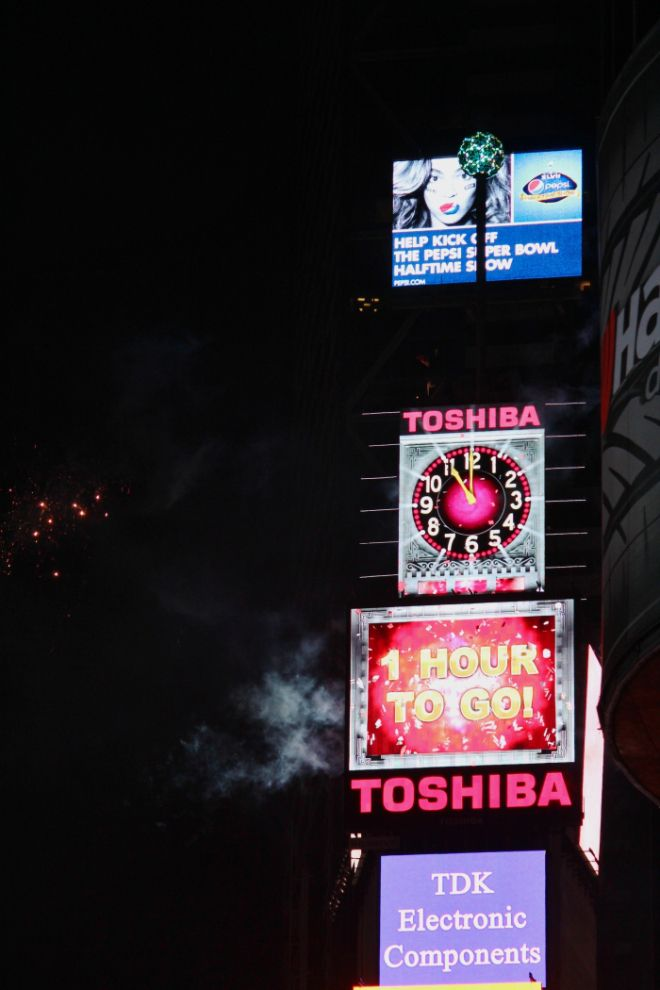 Times Square Ball Drop - 1 Hour to go!