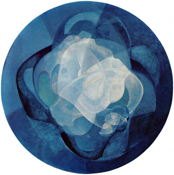 Naum Gabo - Blue Kinetic Painting, 1945-1954, oil on wood panel (This painting is meant to be viewed in rotation)