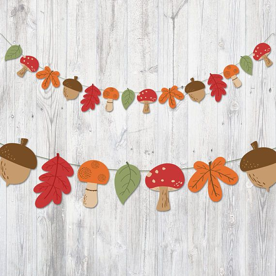 Printable Banner Autumn, Garland Leaves Mushroom Acorn, Nursery Banner, Nursery Decoration, Party Decoration, Autumn Garland, Fall