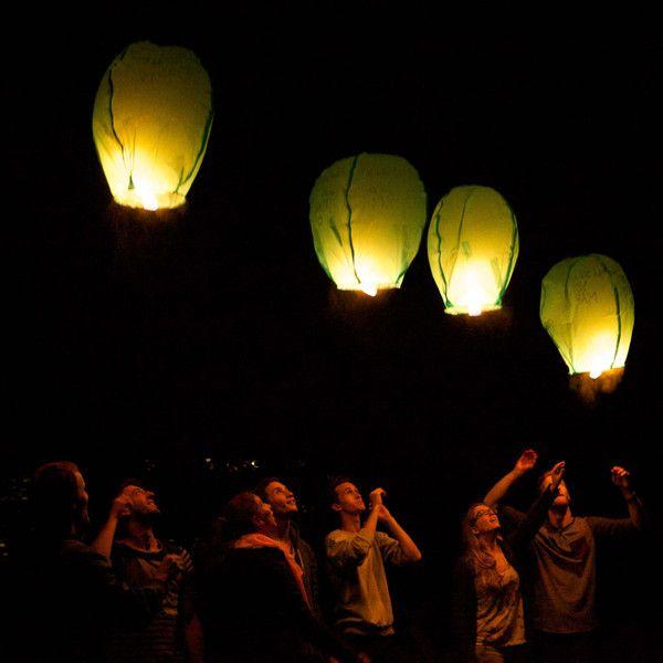 Wishing Lanterns - Lanternes de souhaits  ATTRIBUTS DU PRODUIT  Contenu de la boîte : 3 lanternes de souhaits + 1 marqueur Biodégradable Couleurs disponibles : blanc, bleu, rose, jaune, vert et orange Mise en garde : Si utilisée correctement, la lanterne peut étonner, impressionner et réaliser des rêves! Dois être utilisée uniquement par des adultes! (18 ans et plus).