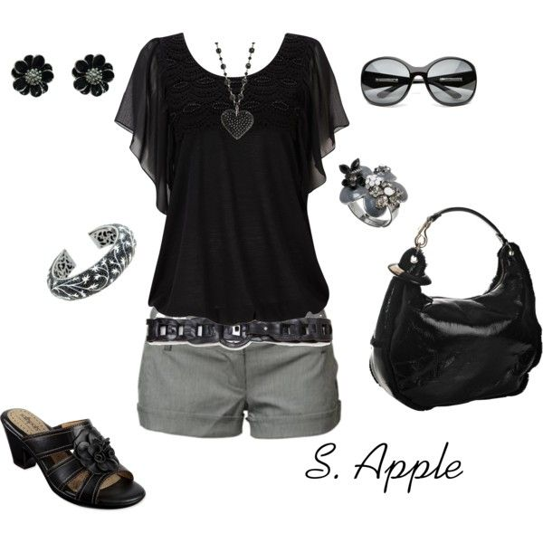 Black and grey, created by sapple324 on Polyvore: Shoes, Date Night, Black Outfits, Shirts, Cute Outfits, Summer Outfits, Grey, Summer Night, Style Fashion