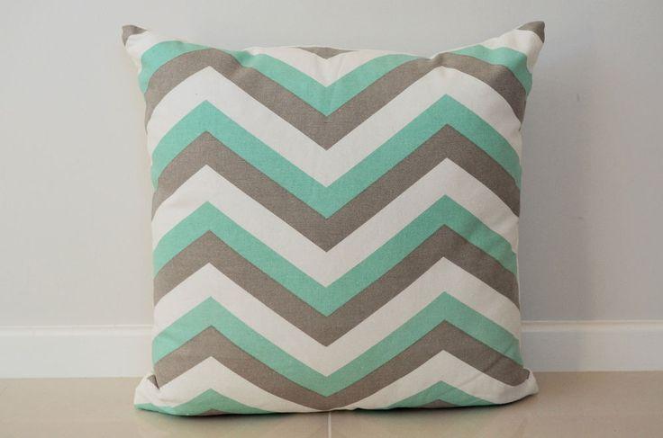 NEW Chevron Cushion Cover 100% Cotton Light Grey/Green 45cm x 45cm Brand Kibui $15