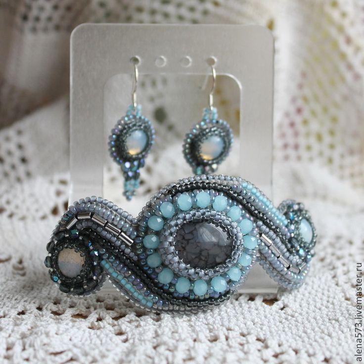 Купить Комплект из бисера с агатом (браслет,серьги) Серо-голубой - браслет, Браслет ручной работы