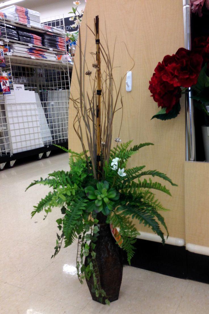 Greens In A Tall Vase Silk Flower Arrangements In 2019 Silk Flower Arrangements Tall