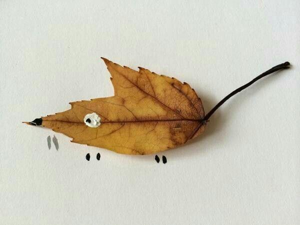 Met een (herfst)blaadje en wat verf maak je een muis... of of iets anders, natuurlijk.