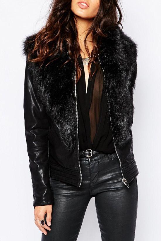 Large Faux Fur Collar PU Leather Jacket