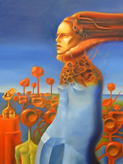In the mouth of madness Lienzo Óleo Figura #buyart #art #amazing #cukier #oiloncanvas #collect #gallery #landscape #blue #orange #woman #bestart