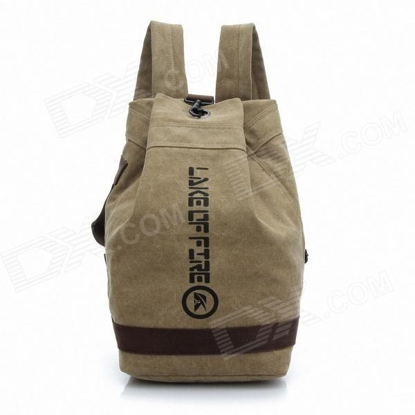 Fashionable Canvas Bucket Bag Backpack - Khaki