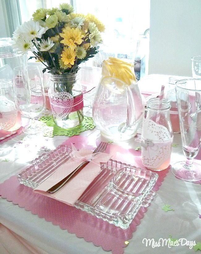 Baby Shower Table Top Decor with Vintage Glassware.  Baby Shower on a Budget!