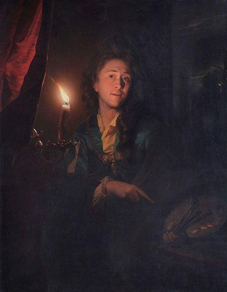 Aufgewachsen im Goldenen Zeitalter der niederländischen Malerei, war er, ein Schüler von Gerrit Dou, berühmt für seine virtuosen Kerzenlicht-Gemälde und Porträts. Godefridus Schalcken: Selbstporträt, 1695, Öl auf Leinwand