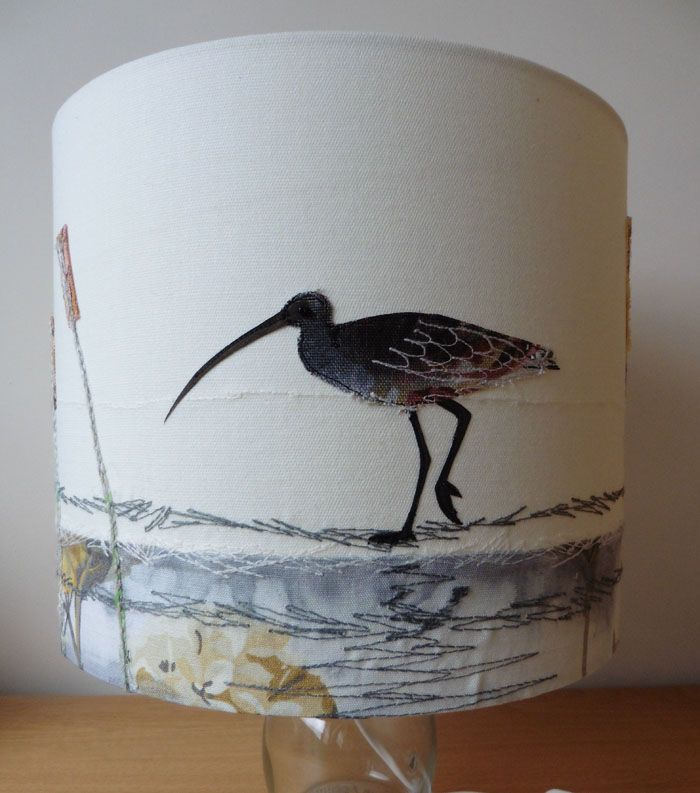 Embroidered textile lampshade of a curlew, size 30 cm diameter x 25 cm high. http://www.johilltextiles.co.uk/lampshades