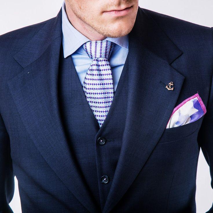 Handkerchief - Light blue twill with stylish white anchors Notch DDEgQqeC9i